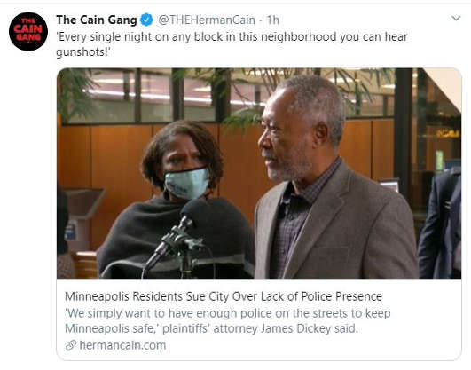 tweet cain gain every night gunshots minneapolis residents suing lack of police