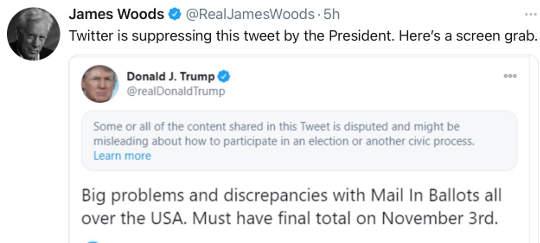 tweet james woods twitter suppressing mail in ballot discrepancies