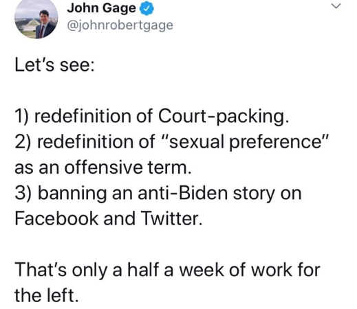 tweet john gage redefinition of court packing sexual preference anti biden story banned half week left