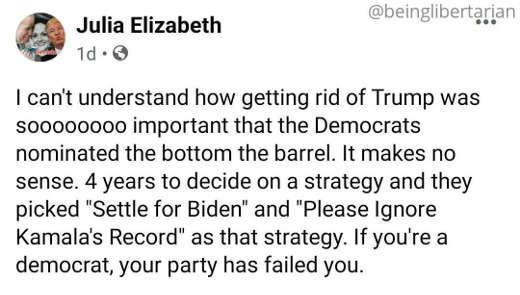 tweet julie elizabeth democrats get rid of trump so settle for biden please ignore kamalas record strategy