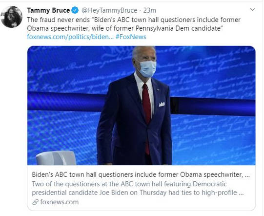 tweet tammy bruce former obama speech writer town hall questioner