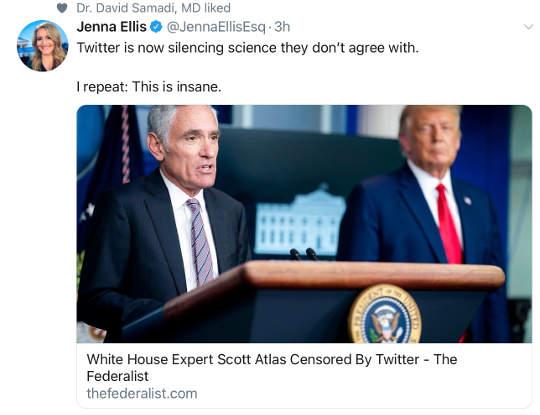twitter censors trump medical advisor