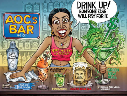 aoc socialism is secy drink up someone else will pay stalin green new deal