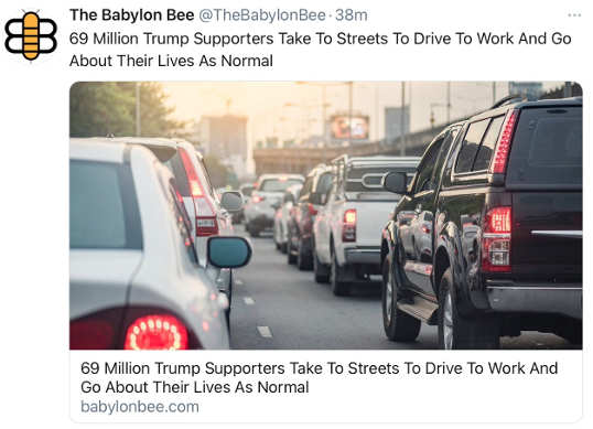 babylon bee 69 million trump supporters drive to work go about lives as normal