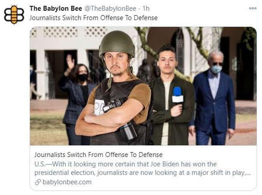 babylon bee journalists switch from trump offense to biden defense