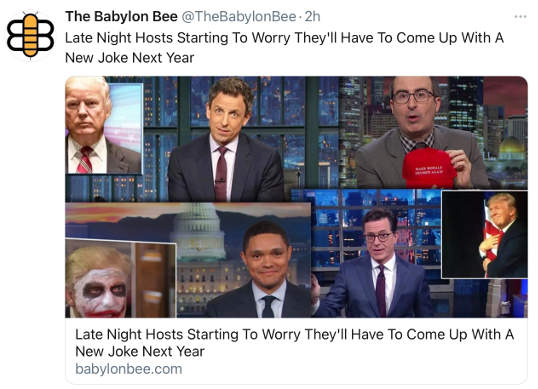 babylon bee late night hosts starting to worry have to come up with new joke next year
