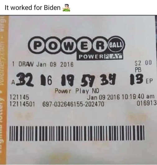 biden lottery ticket changed with sharpie