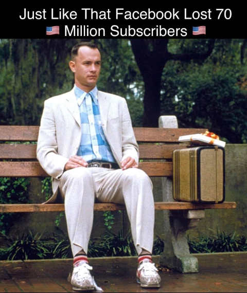 forrest gump just like that facebook liost 70 million subscribers