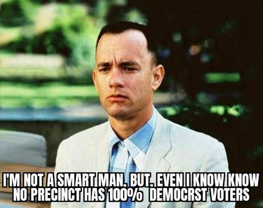 forrest gump not smart man even i know no precinct 100 percent democrat voters