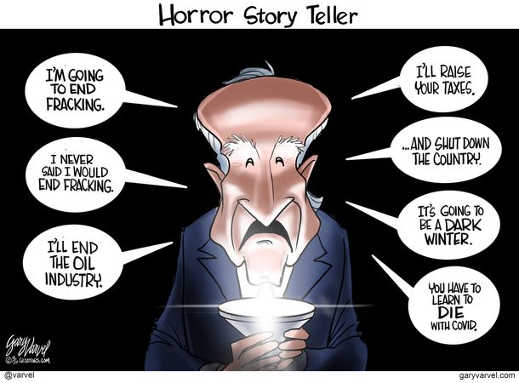 horror story teller joe biden fracking taxes shutdown dark winter learn to die