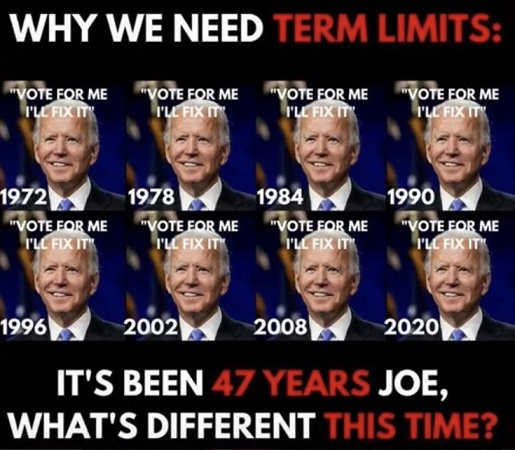 joe biden since 1972 vote for me ill fix it 47 years why we need term limits
