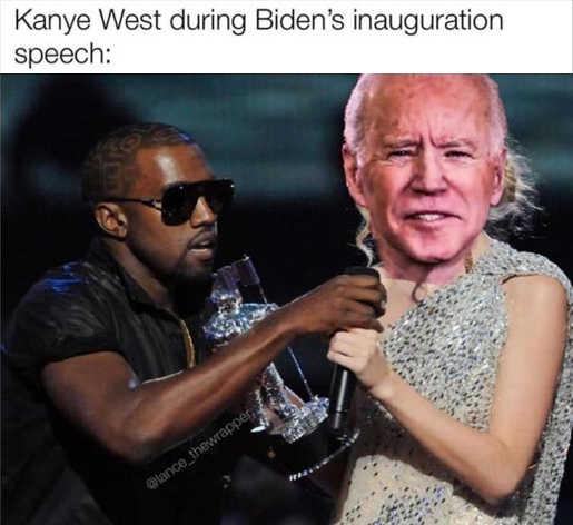 kanye west during biden inauguration speech taking trump greatest president