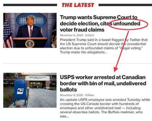media trump tweet unfounded usps worker arrested canadian border undelivered ballots