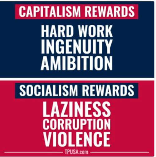 message capitalism rewards hard work ingenuity ambition socialism rewards laziness corruption violence