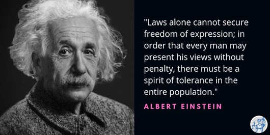 quote einstein laws alone cant secure freedom of expression must be spirit of tolerence