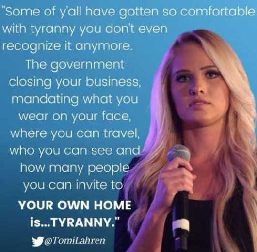 quote some of you comfortable with tyranny government business masks travel