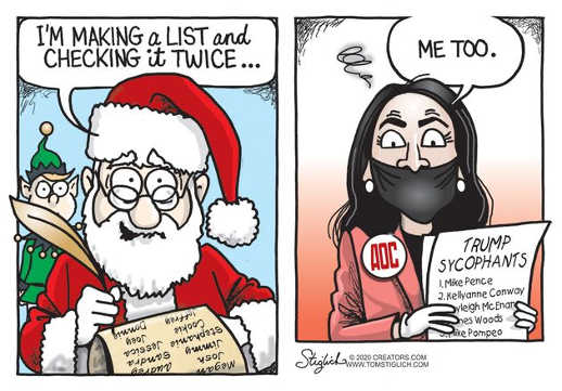 santa making a list aoc me too trump enemies