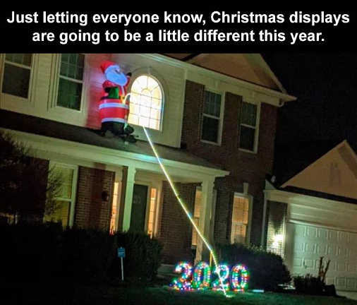 santa peeing 2020 decoration christmas displays different this year