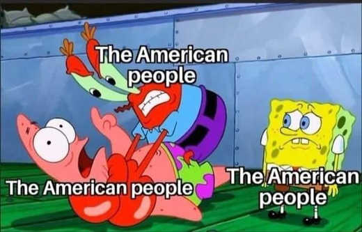 sponge bob american people fighting with each other