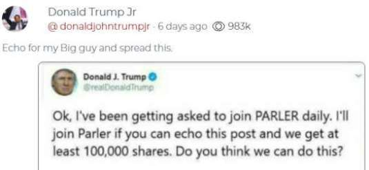 tweet donald trump ive been asked to join parler daily will join if echo and get 100000 shares