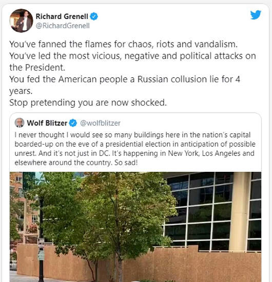 tweet richard grenell wolf blitzer fanned flames of hate shocked now