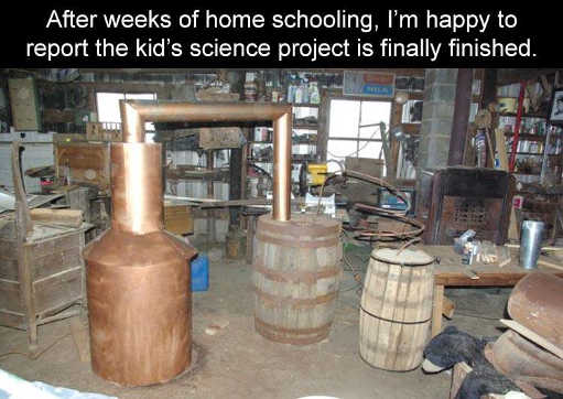 weeks home schooling kids science project liquor barrel