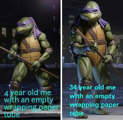 4 year old me empty wrapping paper tube ninja turtle adult
