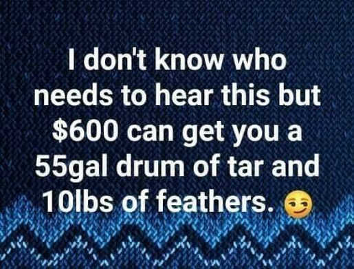 600 dollars will get you 55 gallon drum of tar 10lbs feathers politicians