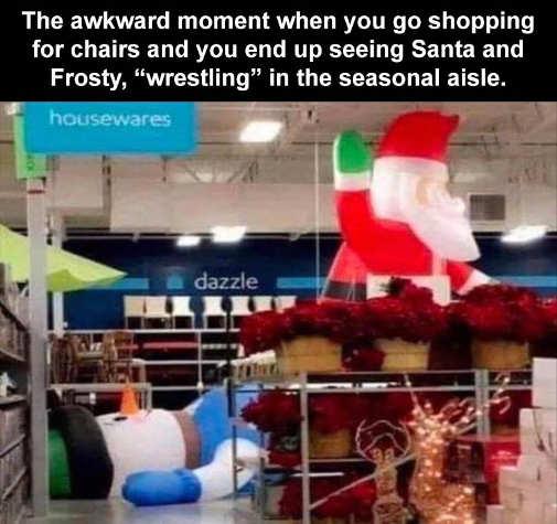 awkward moment santa frosty christmas display