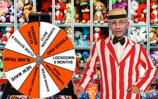 dr fauci spin covid wheel lockdowns open close schools masks new wave