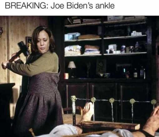kamala harris breaking joe bidens ankle misery bed wooden block
