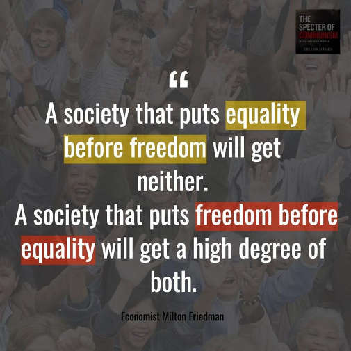 quote society puts equality before freedom gets neither freedom first both milton friedman