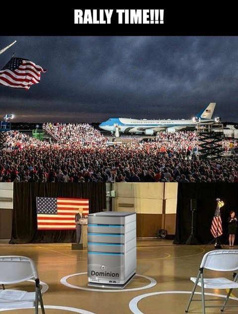 rally time trump vs biden dominion