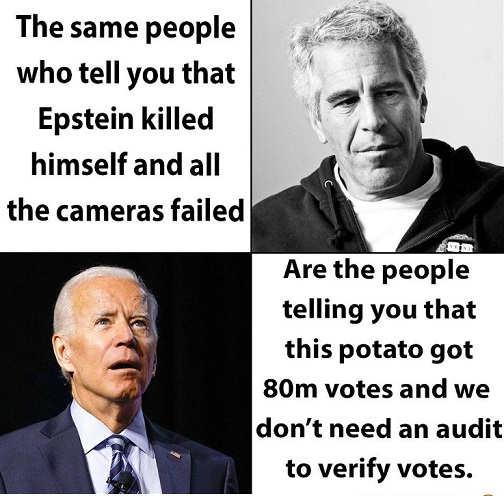 same people say epstein killed himself when cameras failed joe biden 80 million votes dont need audit
