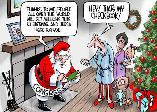 santa giving away billions using checkbook taxpayer