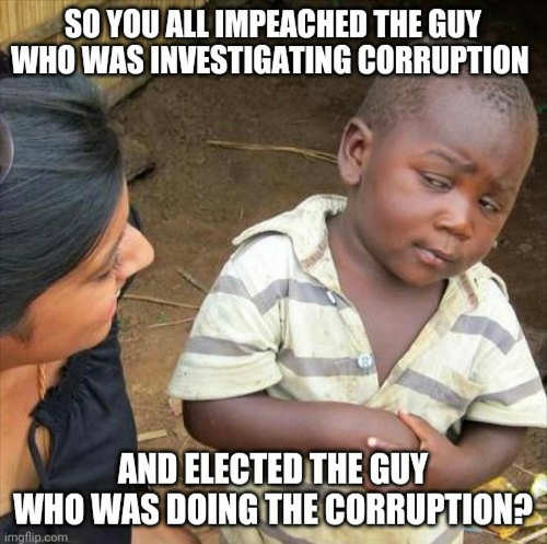 so you impeached guy investigating corruption elected guy doing the corrupting biden trump