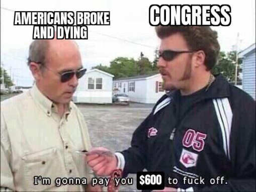 stimulus americans broke dying congress give you 600 dollars to fuck off