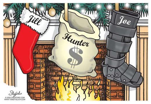 stockings joe boot hunter money bag jill biden fireplace