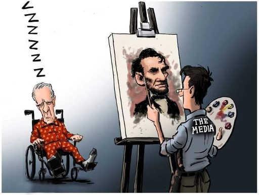 the media painting old man sleepy joe biden abraham lincoln