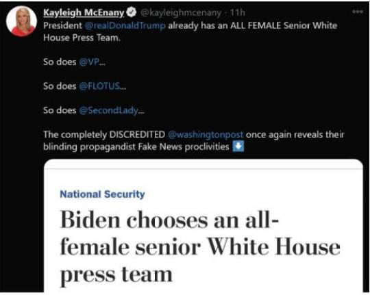 tweet kayleigh mcenancy washington post biden all female press team trump vp flotus second lady already
