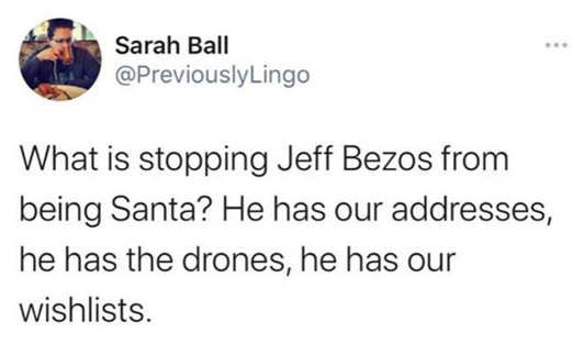 tweet sarah ball what stopping bezos sata addresses drones wishlists