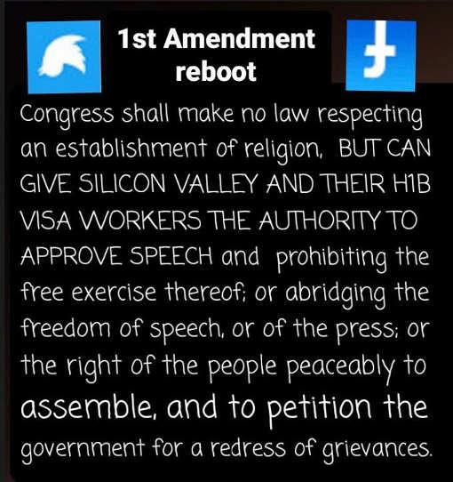 1st amendment reboot congress make no law facebook twitter google