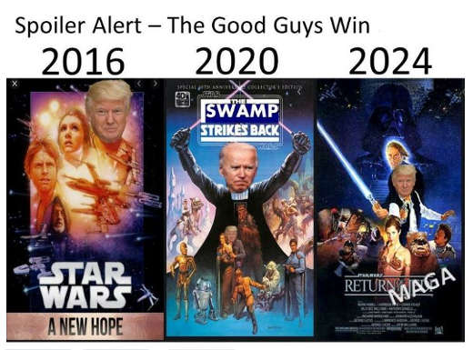 2016 star wars new hope 2020 swamp strikes back 2024 maga trump return