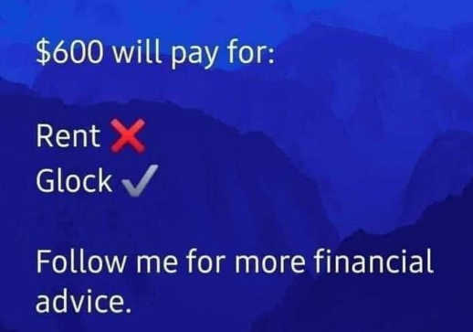 600 dollars will pay for rent no glock yes follow for financial advice