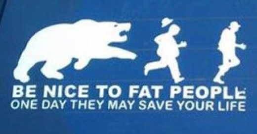 be nice to fat people may save your life bear chasing