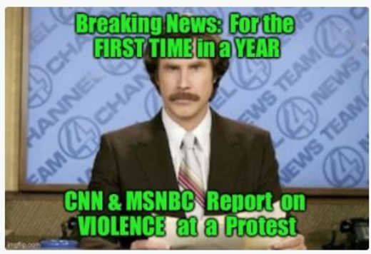 breaking news for first time all year cnn msnbc report on violence