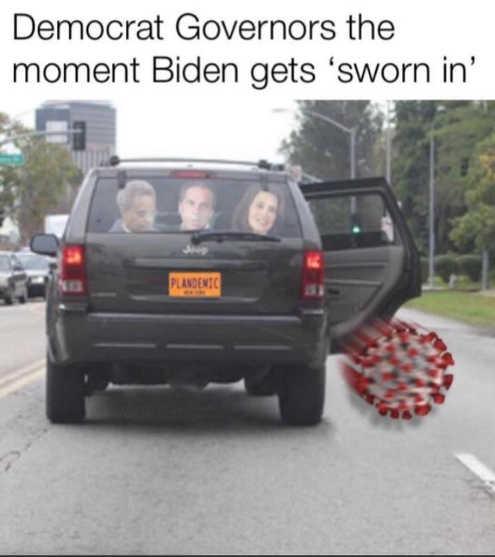democrat governors minute biden sworn in throwing coronavirus out car