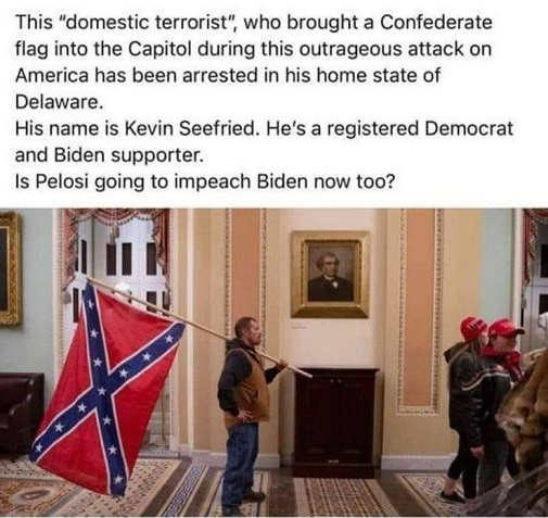 domestic terrorist confederate flag kevin seefried registered democrat