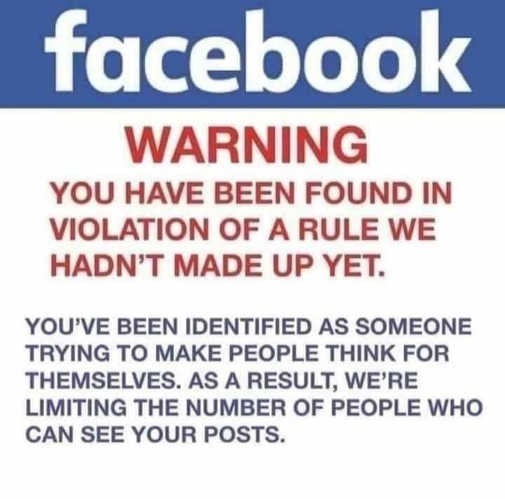 facebook warning violating rule havent made up yet trying to make people think for themselves