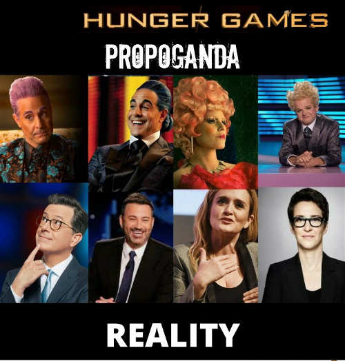 hunger games propaganda reality colbert bee kimmel maddow
